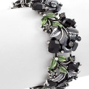 Silver/Black w/Grey/Green Flower Cuff Bracelet